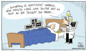 Blog cartoon high cost of Obama care